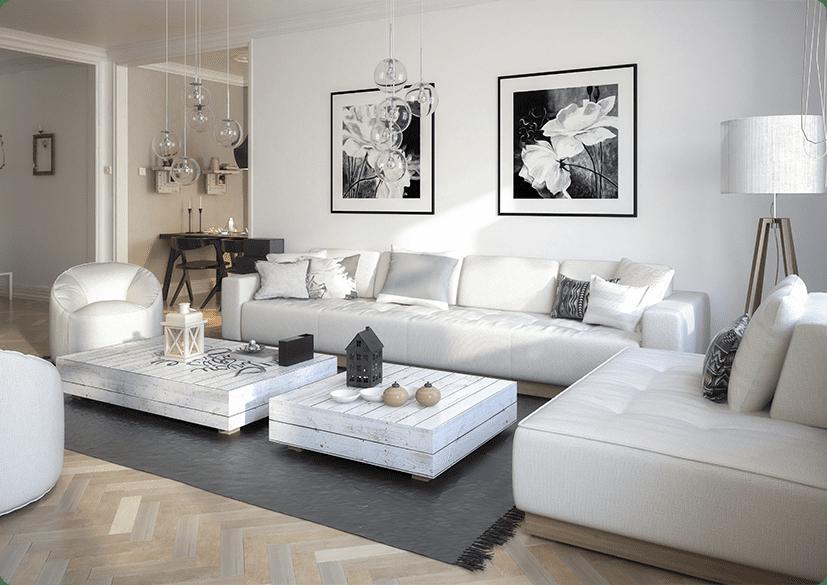 Modernes Wohnzimmer mit DALI Hängelampen
