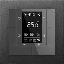 KNX Raumtemperaturregler in Anthrazit mit Einbaurahmen von GVS