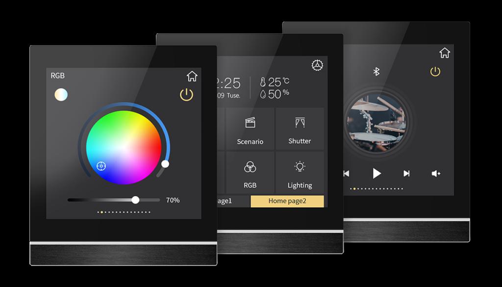 KNX Smart Touchpanel V40 mit Anzeige von RGB, Favoritenseite und Musiksteuerung