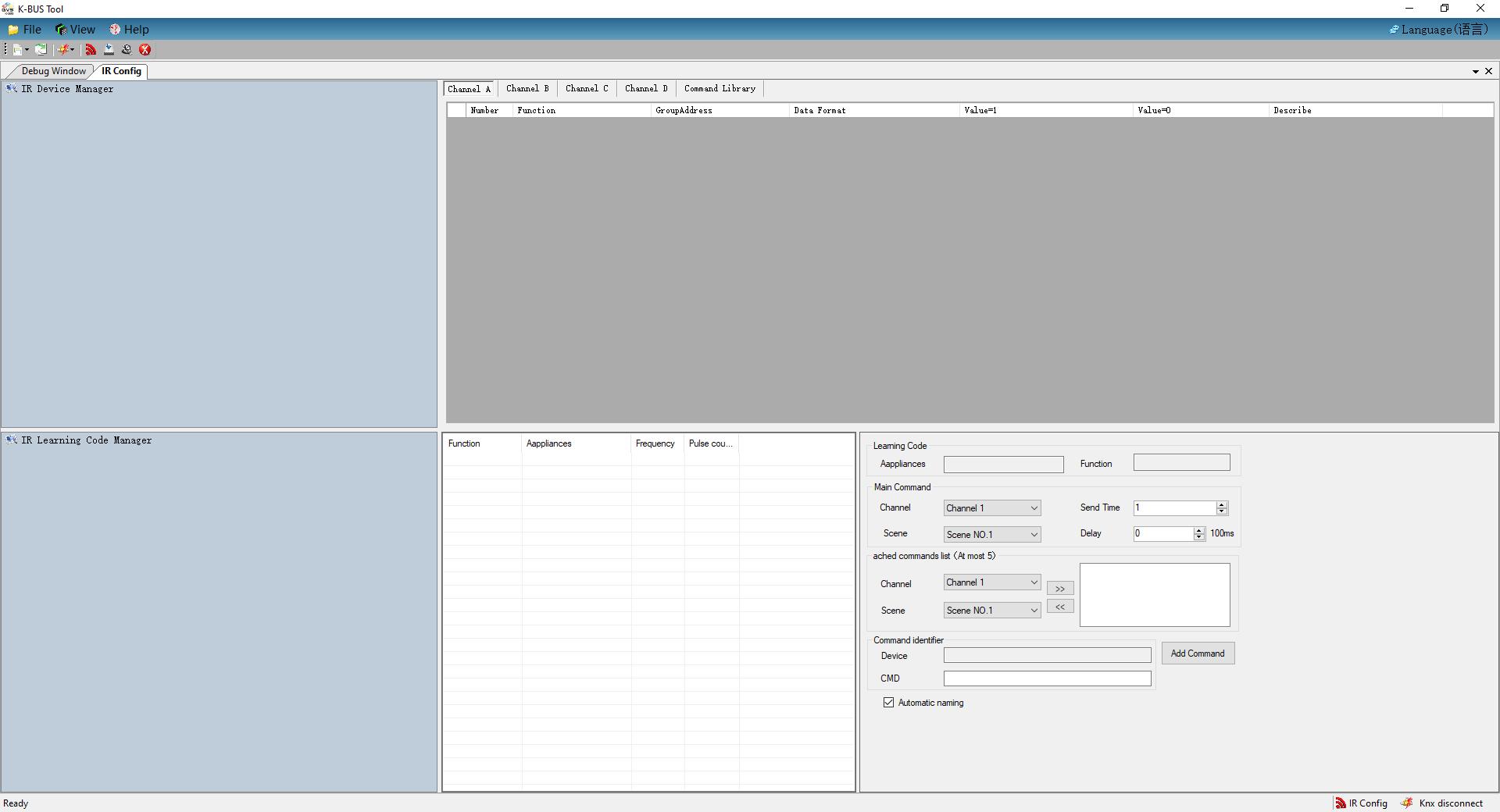 K-BUS Tool - Softwareoberfläche für den KNX Transmitter und KNX Learner