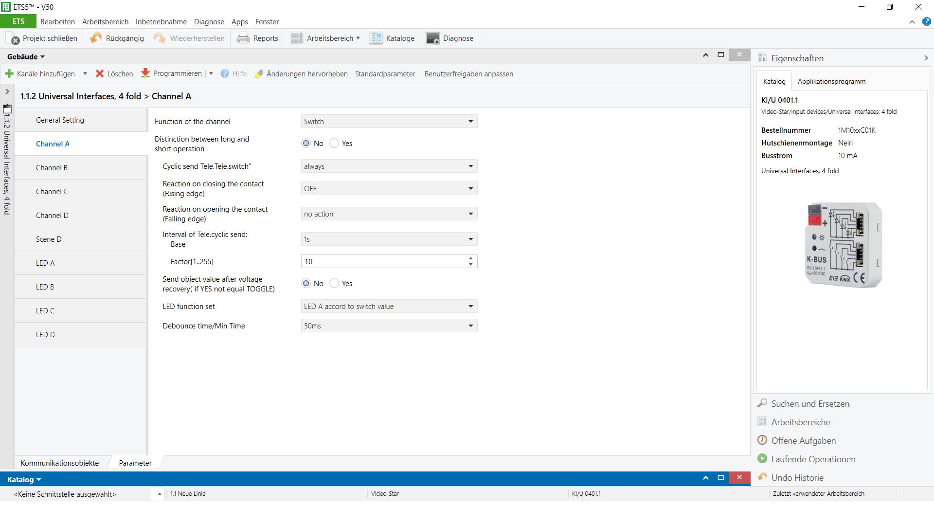 Applikationsprogramm der GVS KNX Tasterschnittstelle